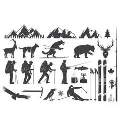 mountaineering hiking climbing fishing skiing vector image