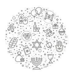 outline icon collection - symbols of hanukkah vector image vector image