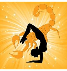 Woman in yoga scorpio asana vector image vector image