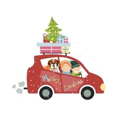 Christmas family trip vector
