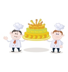 Cooks with holiday cake vector image