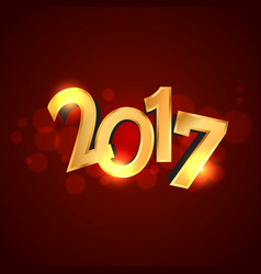 Golden 2017 text style on red background vector