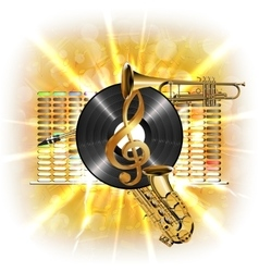 music in flash treble clef vinyl sax and trumpet vector image