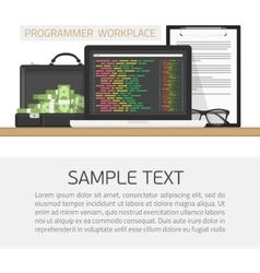 Programmer workplace concept vector image