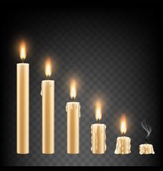 realistic burning candle icon set vector image