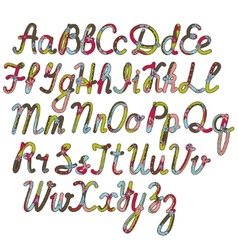 written alphabet in christmas colors vector image
