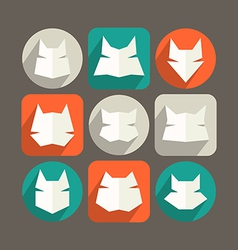 Cat icons in flat style and long shadow vector image vector image