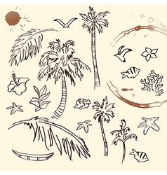 Collection of Beach Doodles vector image vector image