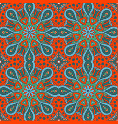 mandala doodle drawing colorful seamless ornament vector image vector image
