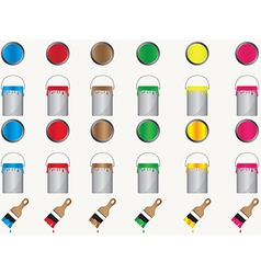 Paint cans and brushes vector image vector image