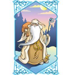 santa claus in winter frame vector image