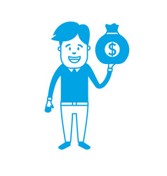 silhouette man with bag cash money in the hand vector image vector image
