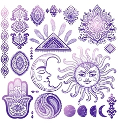 Sun moon and ornaments vintage set vector image vector image