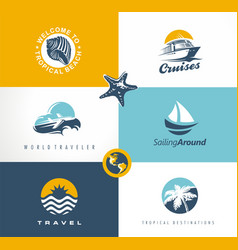 travel vacation tour logo designs collection vector image