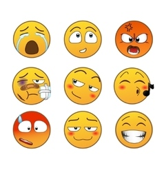 Yellow emotions set vector image