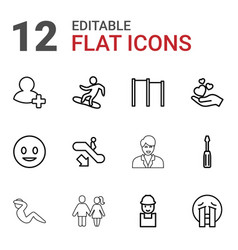 12 people icons vector