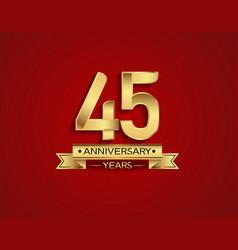 45 years anniversary golden design color vector