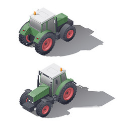 Agricultural tractors isometric icon set vector