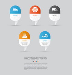 Auto icons set collection of car wheel van and vector
