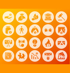 bankruptcy shape carved flat icons set vector image