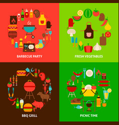 barbecue concepts set vector image