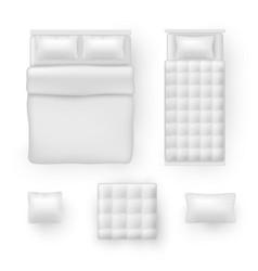Bed linen bedding sheets bedclothes realistic vector