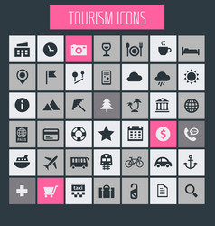 Big tourism icon set trendy flat icons collection vector