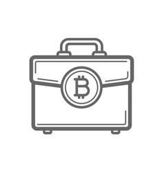 Bitcoin cryptocurrency portfolio coin line icon vector
