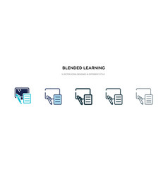 Blended learning icon in different style two vector