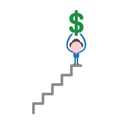 businessman character holding up dollar symbol on vector image