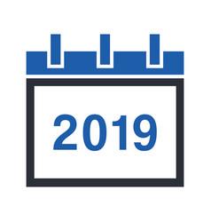 calendar 2019 glyph icon vector image