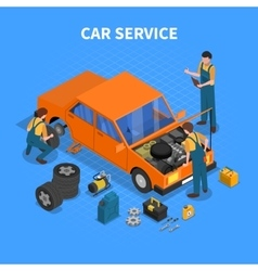 Car Service Work Process Isometric vector