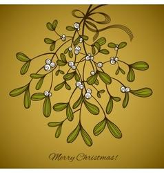 Card with mistletoe vector