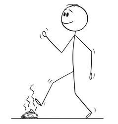 Cartoon man walking and stepping on dog vector