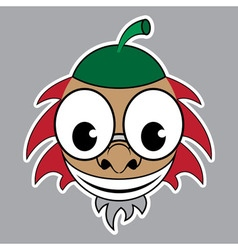 Cartoon - styled acorn with green cap and red hair vector