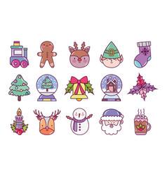 celebration decoration merry christmas icons vector image