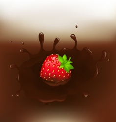 Chocolate dipped strawberry vector