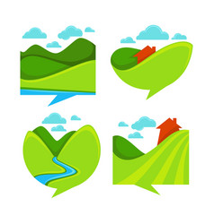Collection of rural landscape icon symbols and vector