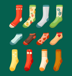 colored socks set bright woolen with red vector image