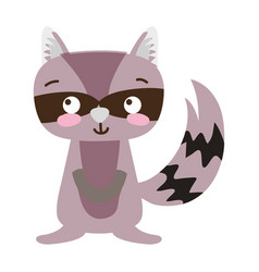 Colorful cute and surprised raccoon wild animal vector