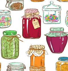 Colorful seamless pattern of mason jars vector image