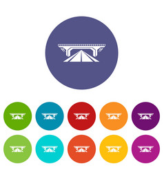 Concrete bridge icons set color vector