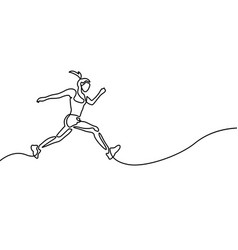 continuous line drawing running woman runner vector image