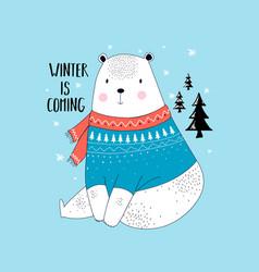 cute bear print design design vector image