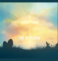 Easter background with jesus and cross vector
