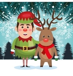 elf and reindeer landscape christmas card vector image