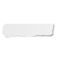 Elongated tattered paper scrap isolated on white vector