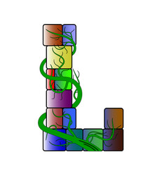 Font in a multicolored cubic style letter l vector