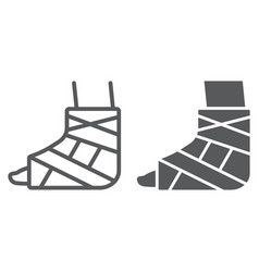 foot brace line and glyph icon orthopedic vector image