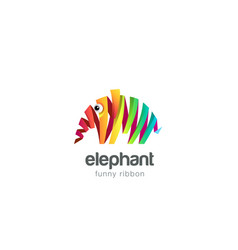 funny colorful ribbon abstract elephant logo vector image